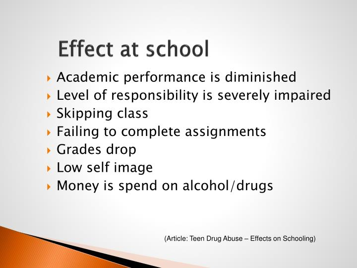 effects of drugs on academic performance Alcohol and other drug use and academic achievement what is the relationship between alcohol and other drug use and academic achievement data presented below from the 2009 national youth risk behavior survey.