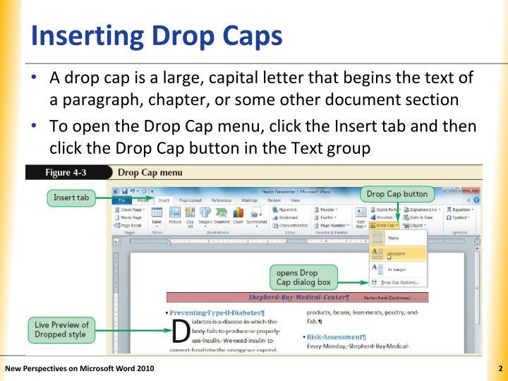 Inserting drop caps