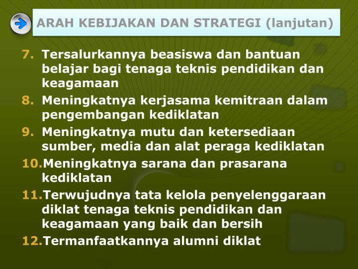 ARAH KEBIJAKAN DAN STRATEGI (