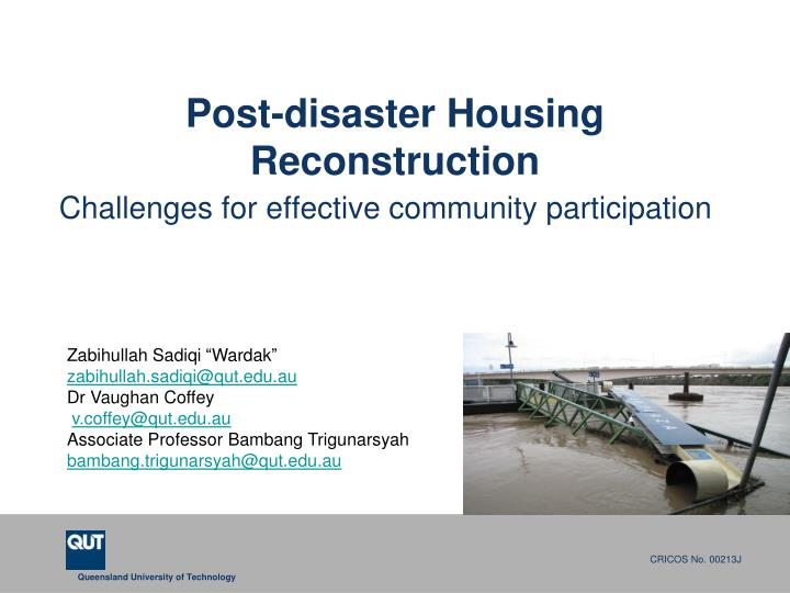 post disaster housing reconstruction n.
