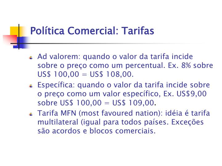 Política Comercial: Tarifas