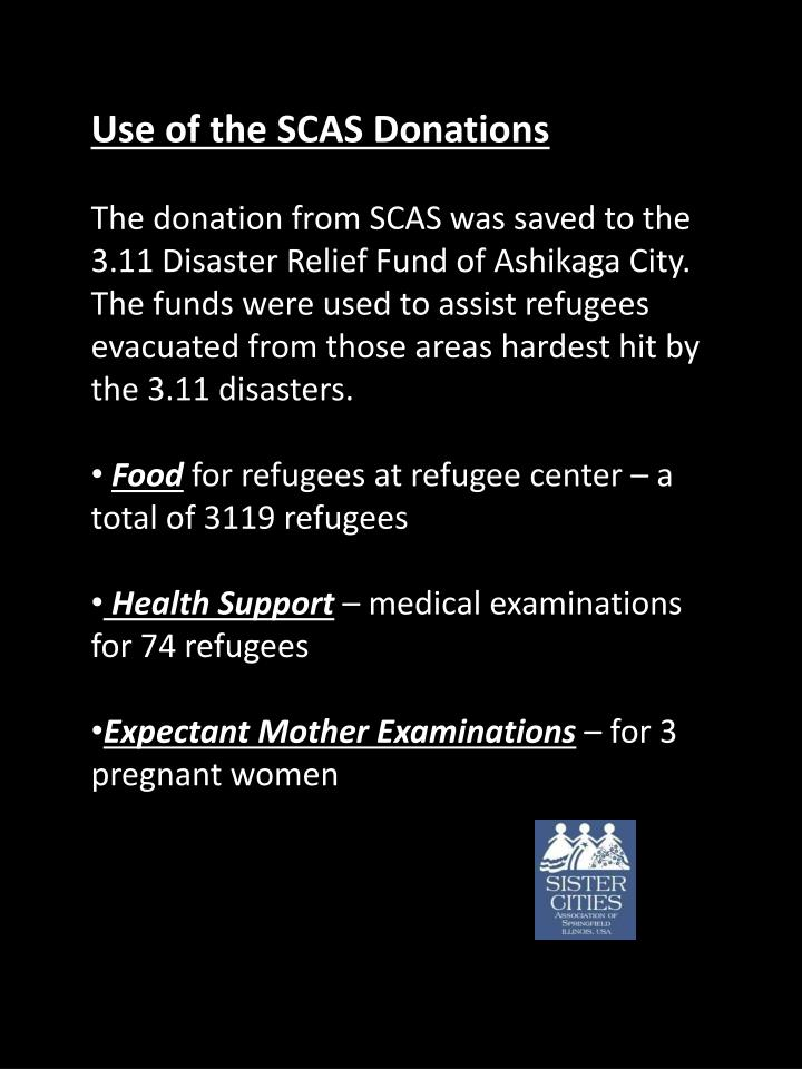 Use of the SCAS Donations