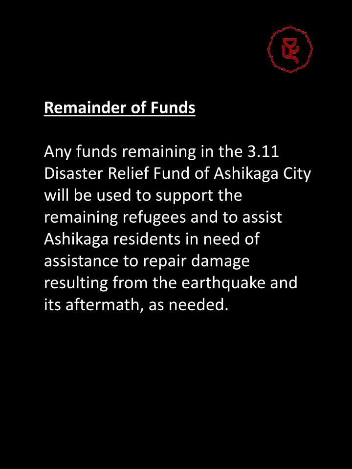 Remainder of Funds