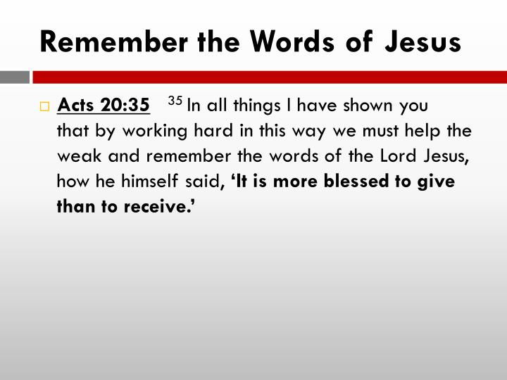 Remember the Words of Jesus