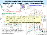 compare models with pan measurements at high elevation sites in europe 3 sites and wus 2 sites