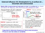 external influence 3 stratospheric o 3 in surface air uncertain and controversial