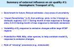 summary of external influence on air quality 1 hemispheric transport of o 3
