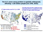 the u s ozone smog problem is spatially widespread affecting 120 million people u s epa 2010