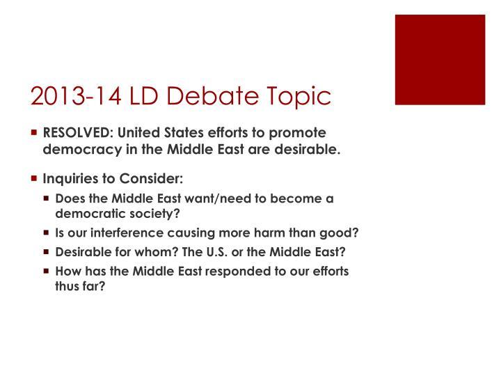 2013-14 LD Debate Topic