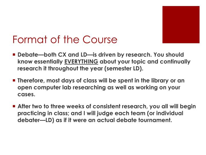 Format of the Course