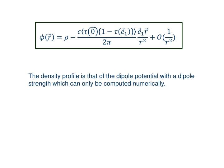 The density profile is that of the dipole potential with a dipole