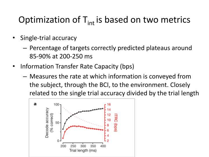 Optimization of T