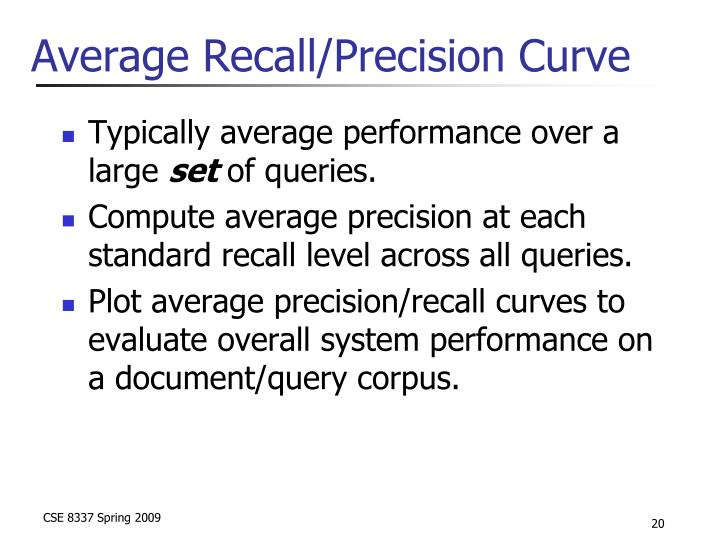 Average Recall/Precision Curve