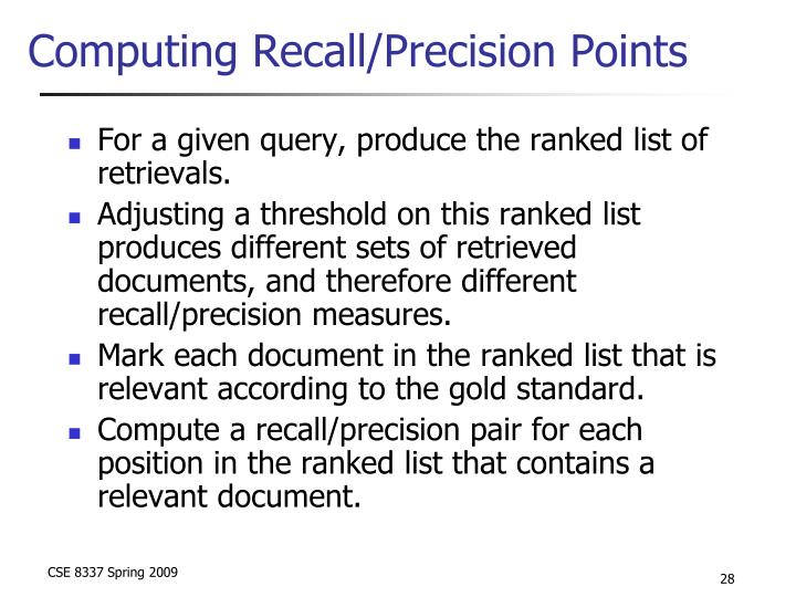 Computing Recall/Precision Points