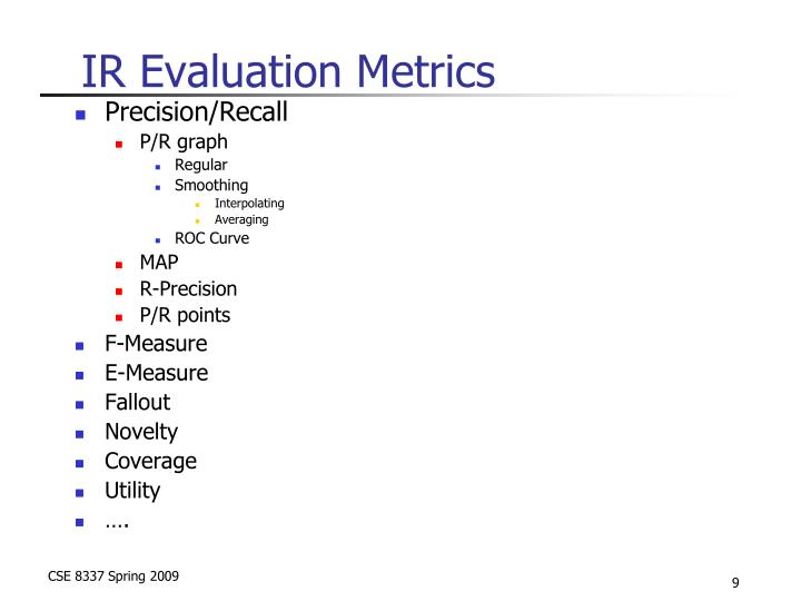 IR Evaluation Metrics