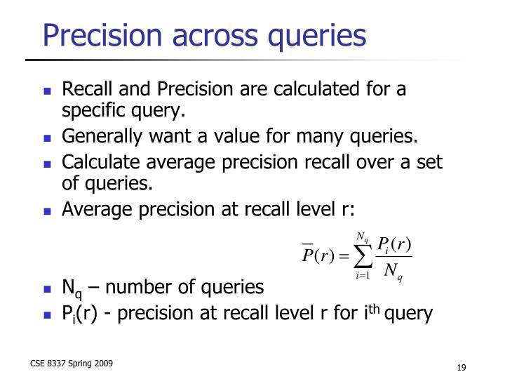 Precision across queries