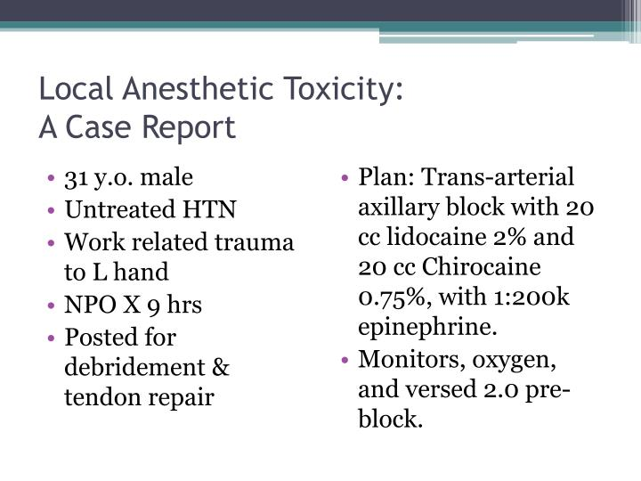 Local Anesthetic Toxicity: