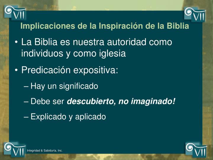 Implicaciones de la Inspiración de la Biblia