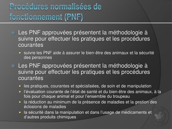 Procédures normalisées de fonctionnement (PNF)