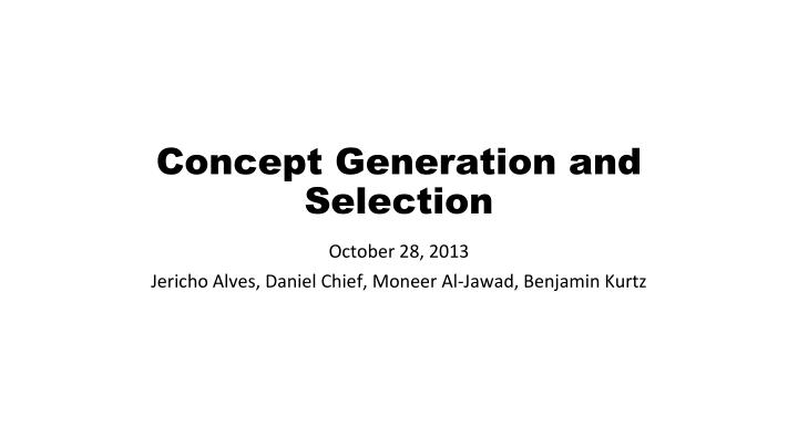 concept generation and selection n.