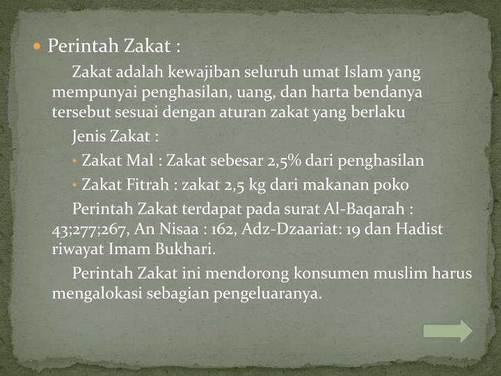 Perintah Zakat :