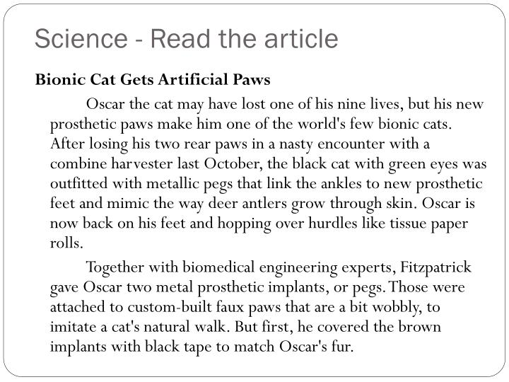 Science - Read the article