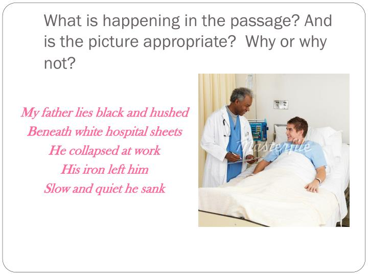 What is happening in the passage? And is the picture appropriate?  Why or why not?