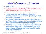 nuclei of interest 1 st pass list