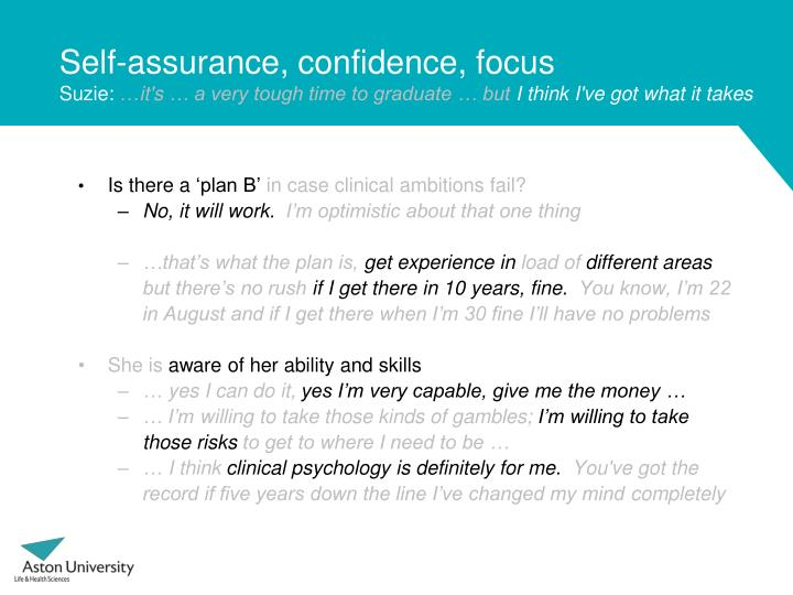 Self-assurance, confidence, focus