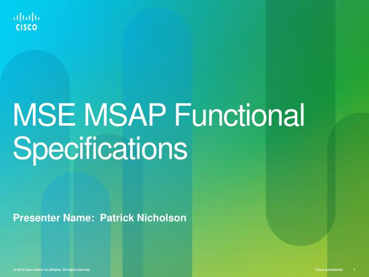 mse msap functional specifications n.