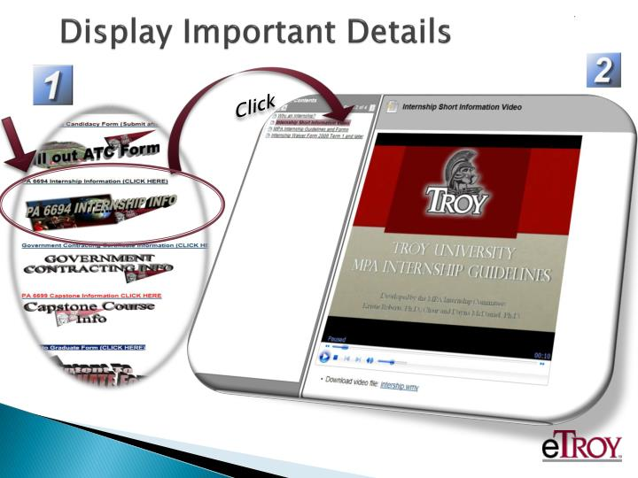 Display Important Details