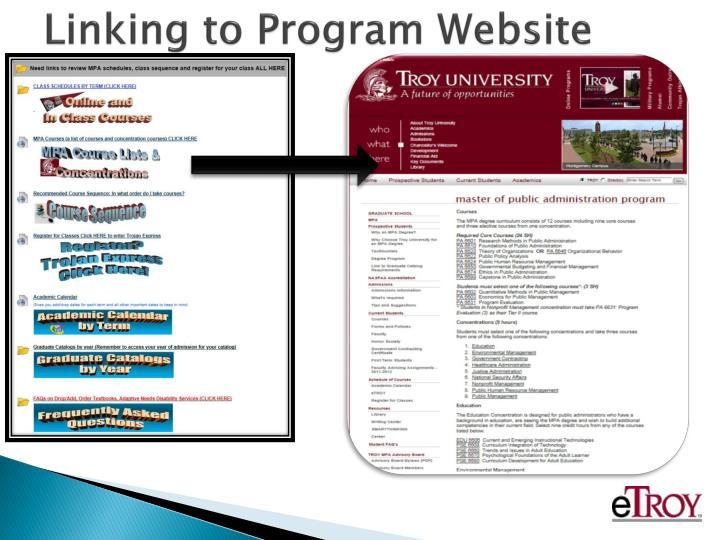 Linking to Program Website