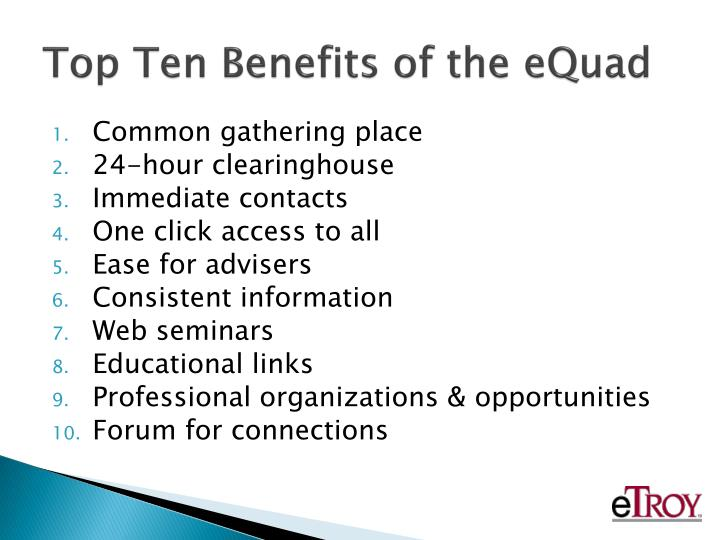 Top Ten Benefits of the