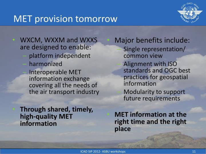 MET provision tomorrow