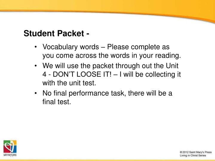 student packet n.