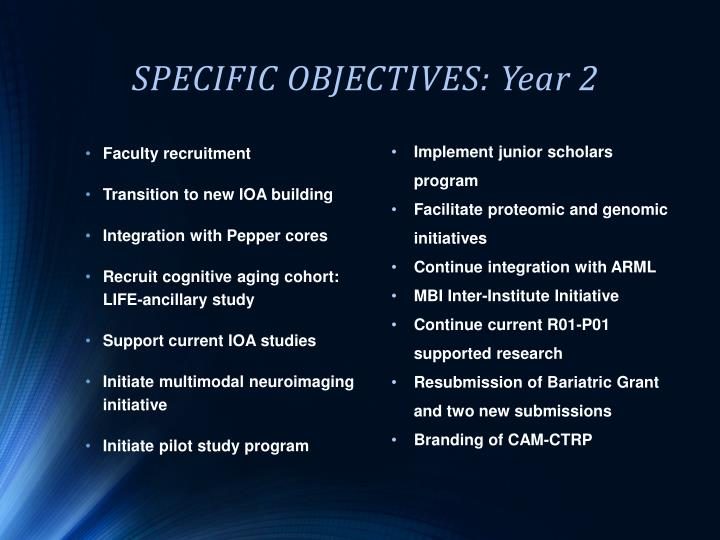 SPECIFIC OBJECTIVES: Year 2