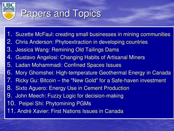 Papers and Topics