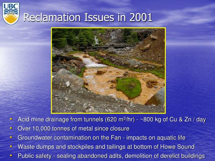 Reclamation Issues in 2001