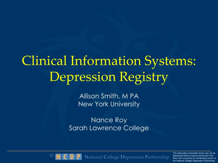clinical information systems depression registry