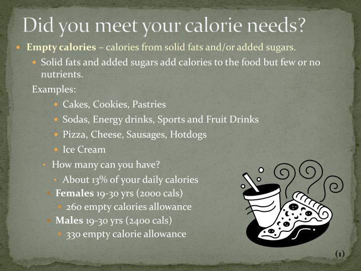 Did you meet your calorie needs?