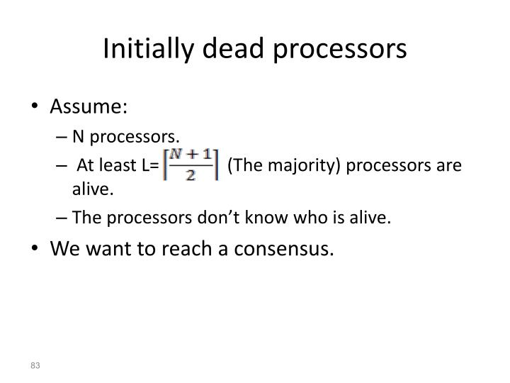 Initially dead processors