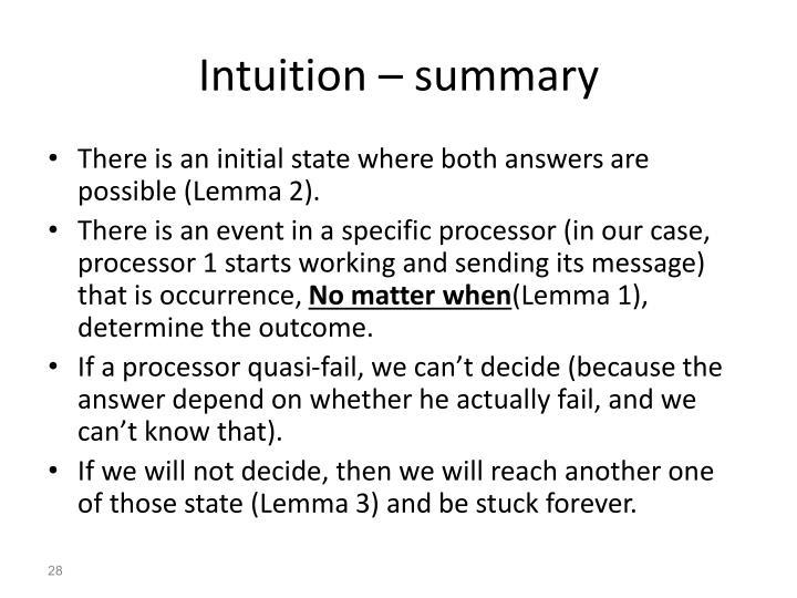 Intuition – summary