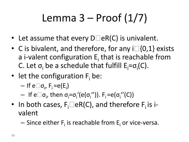 Lemma 3 – Proof (1/7)
