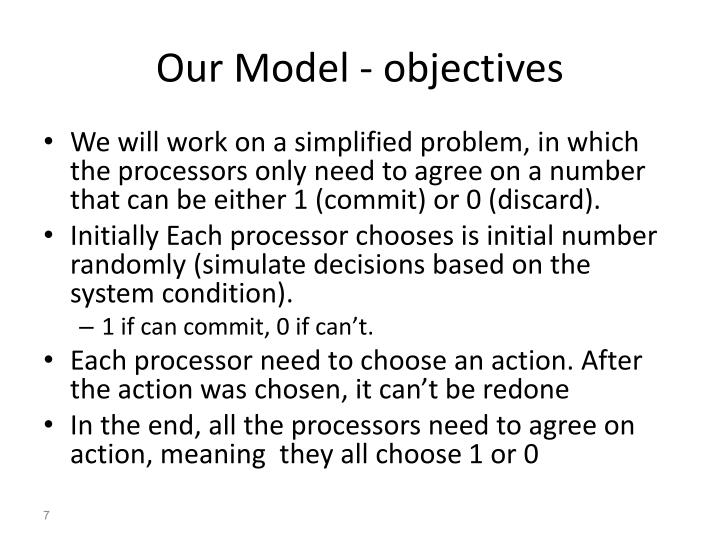 Our Model - objectives