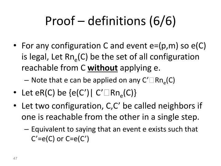 Proof – definitions (6/6)