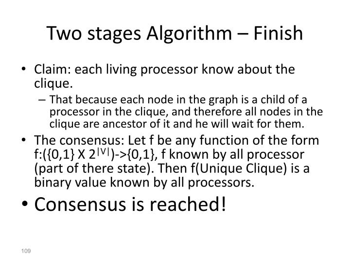 Two stages Algorithm –