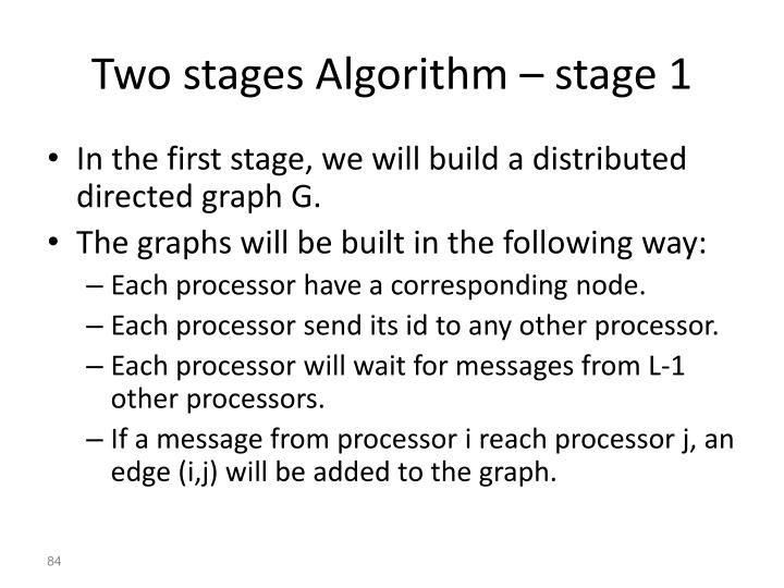 Two stages Algorithm – stage 1