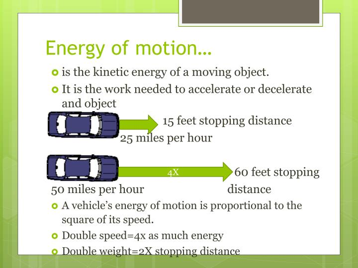 Energy of motion…