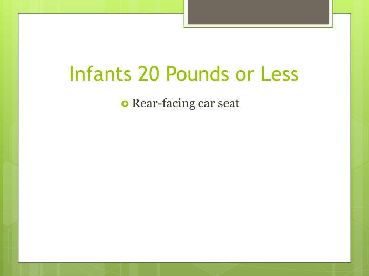 Infants 20 Pounds or Less