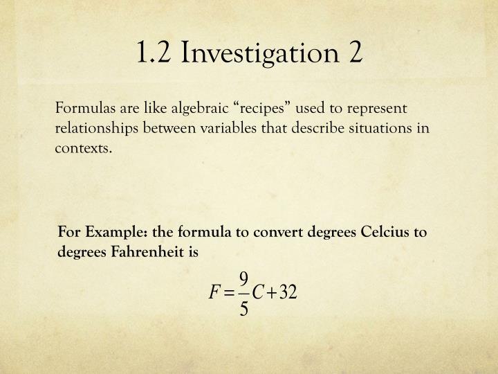 1.2 Investigation 2